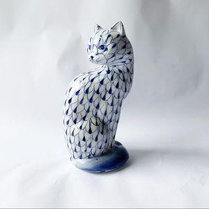 Andrea Sadek // Blue, White Fish Net Cat Figureine